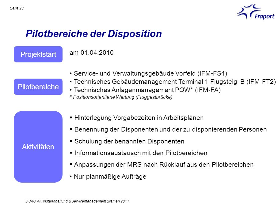 Pilotbereiche der Disposition