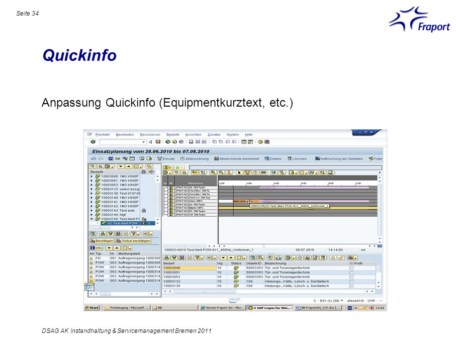 Quickinfo Anpassung Quickinfo (Equipmentkurztext, etc.)
