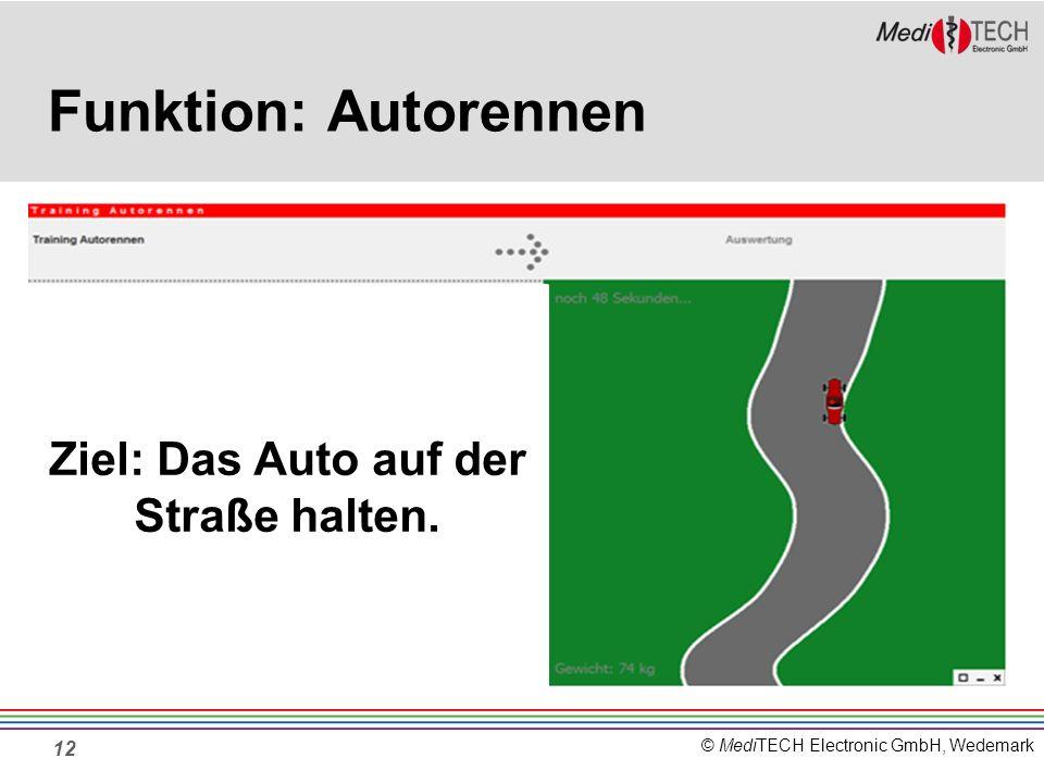 Ziel: Das Auto auf der Straße halten.