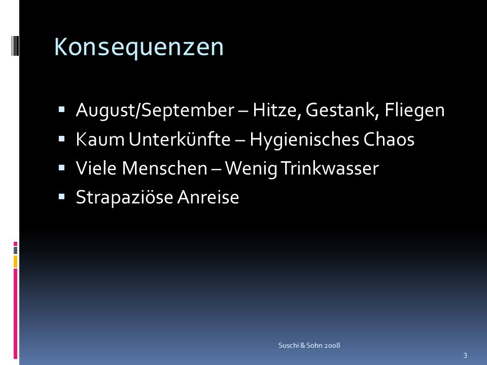 Konsequenzen August/September – Hitze, Gestank, Fliegen