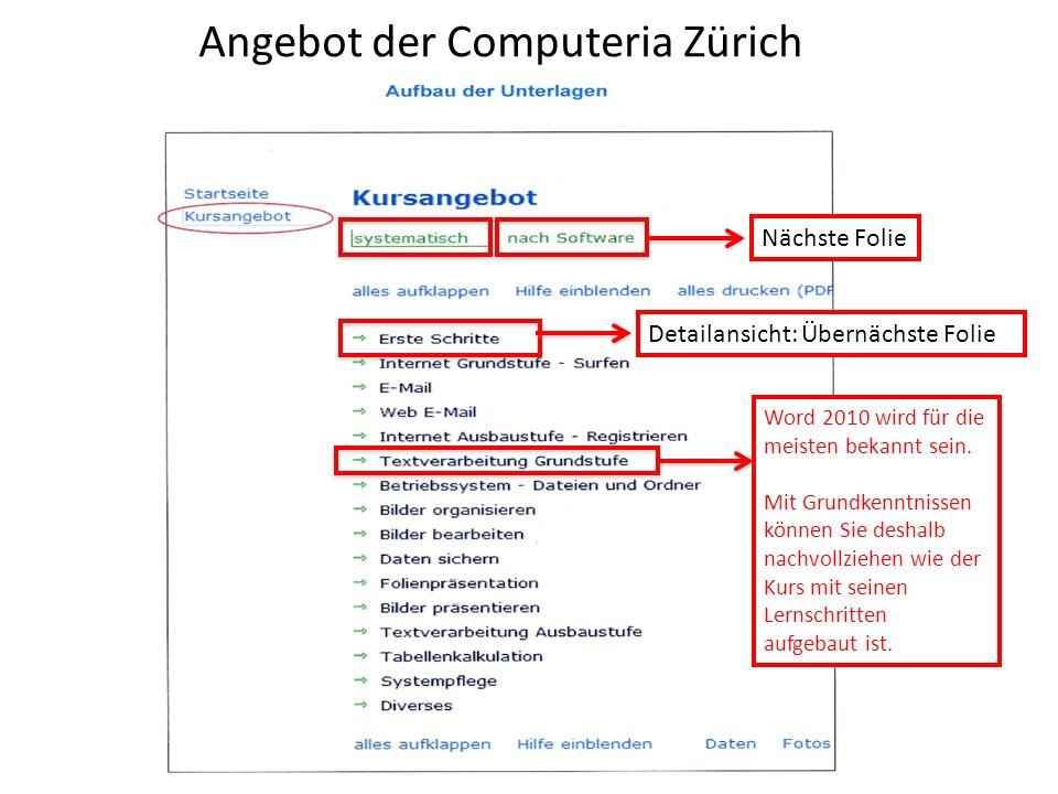 Angebot der Computeria Zürich