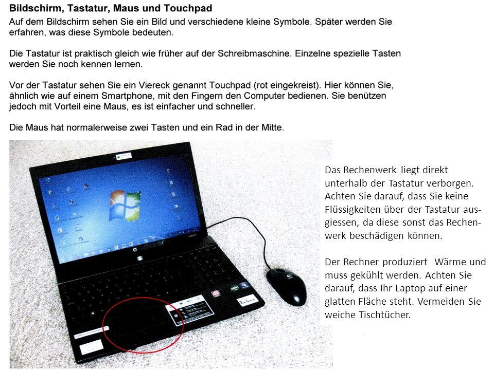 Das Rechenwerk liegt direkt unterhalb der Tastatur verborgen.