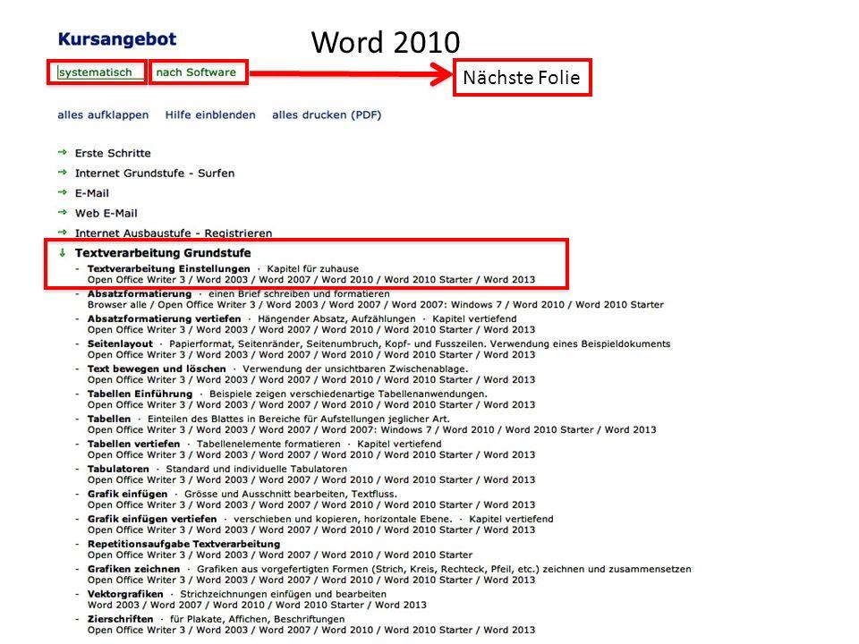 Word 2010 Nächste Folie