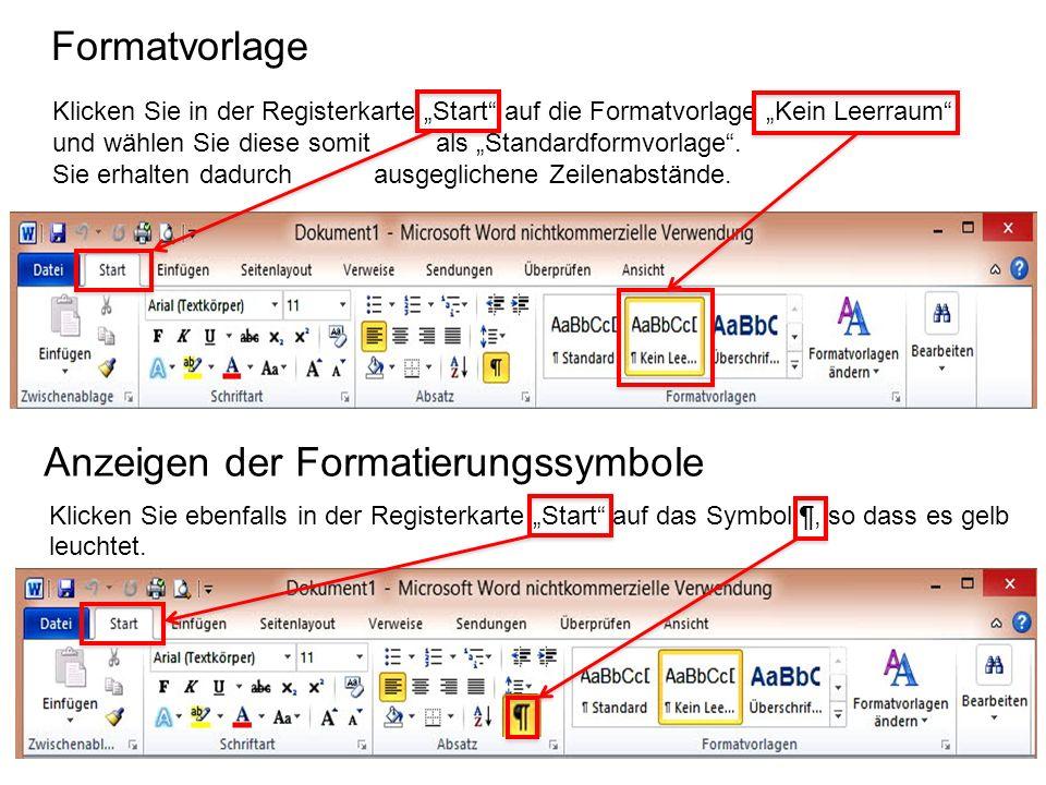 Anzeigen der Formatierungssymbole