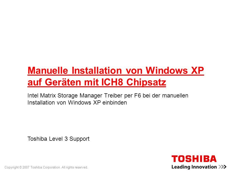 Manuelle Installation von Windows XP auf Geräten mit ICH8 Chipsatz