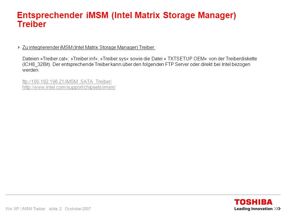 Entsprechender iMSM (Intel Matrix Storage Manager) Treiber