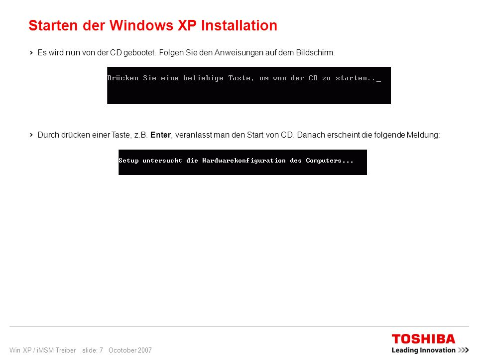 Starten der Windows XP Installation