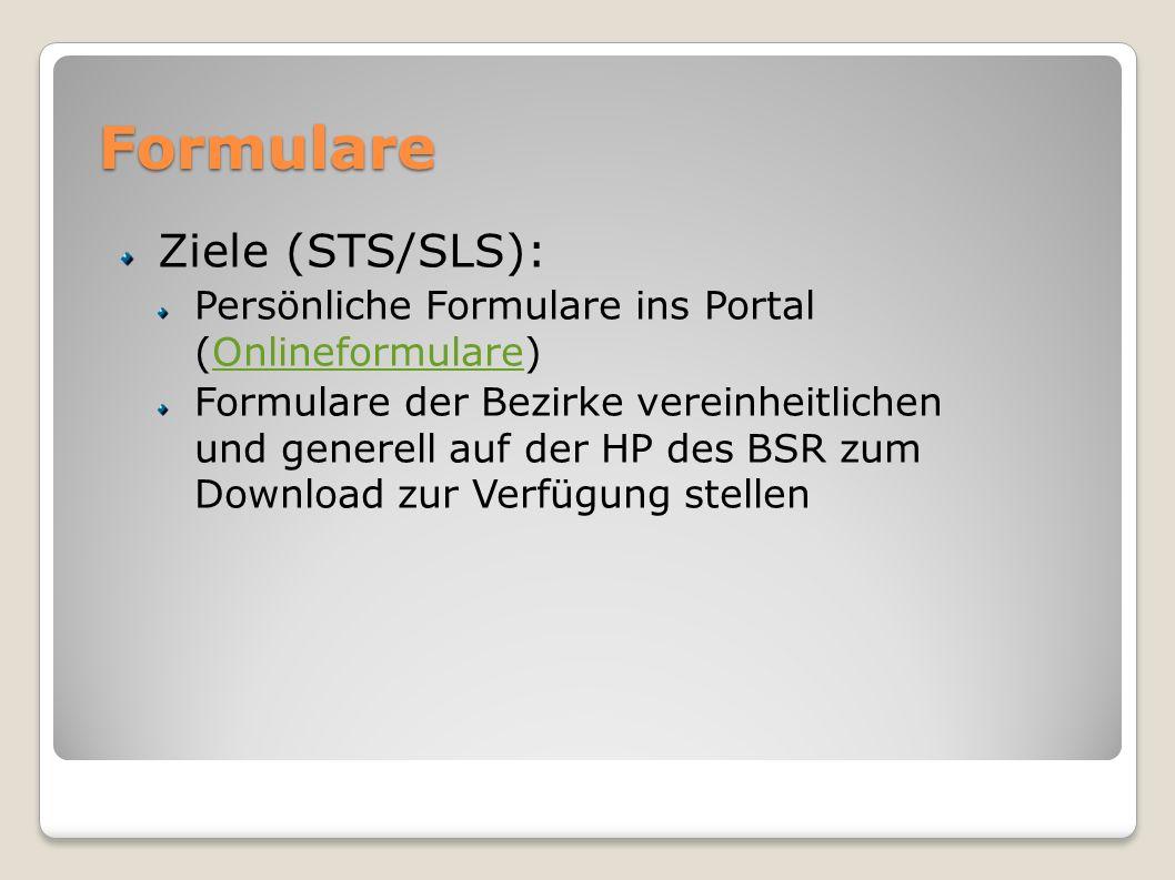 Formulare Ziele (STS/SLS):