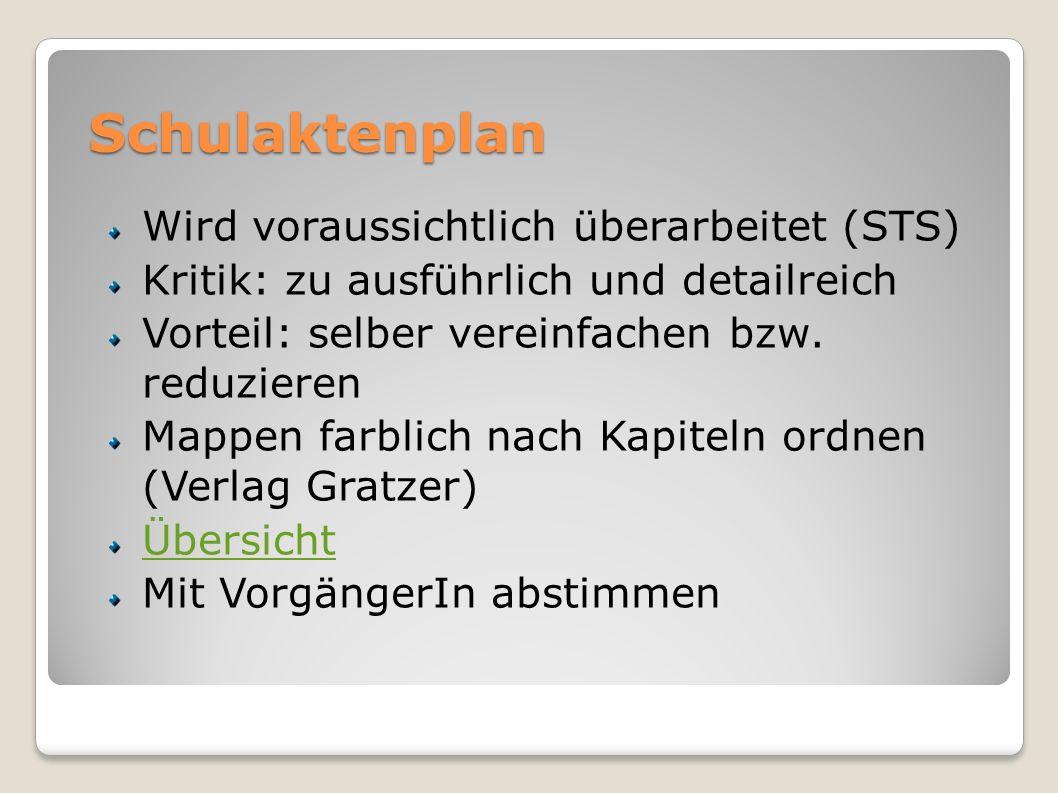 Schulaktenplan Wird voraussichtlich überarbeitet (STS)