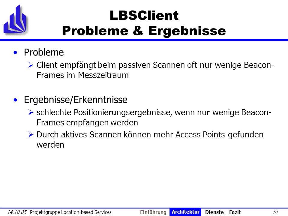 LBSClient Probleme & Ergebnisse