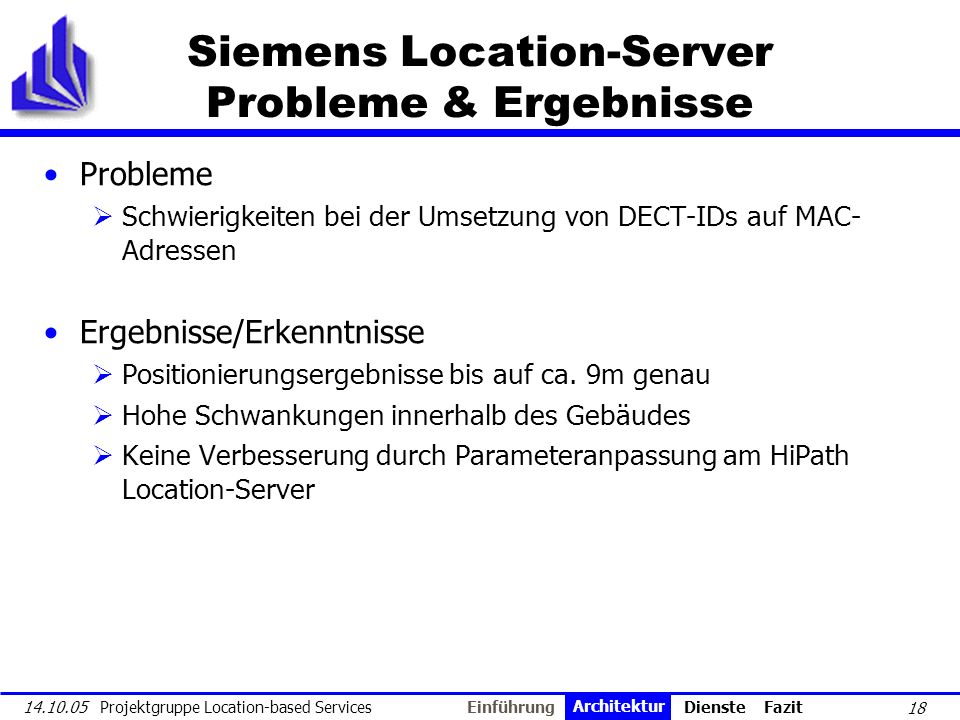 Siemens Location-Server Probleme & Ergebnisse