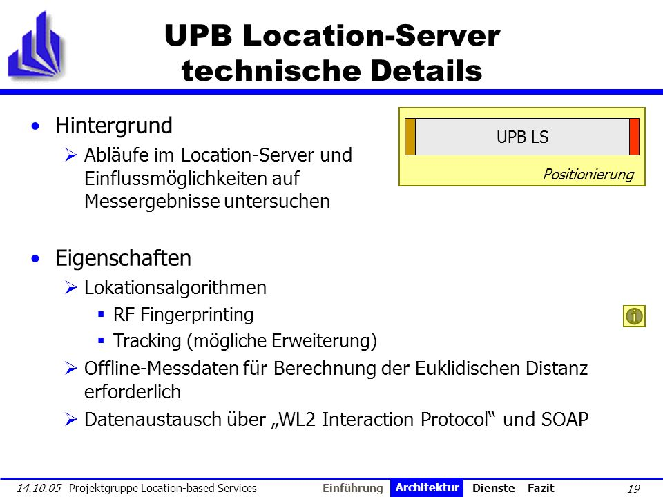 UPB Location-Server technische Details
