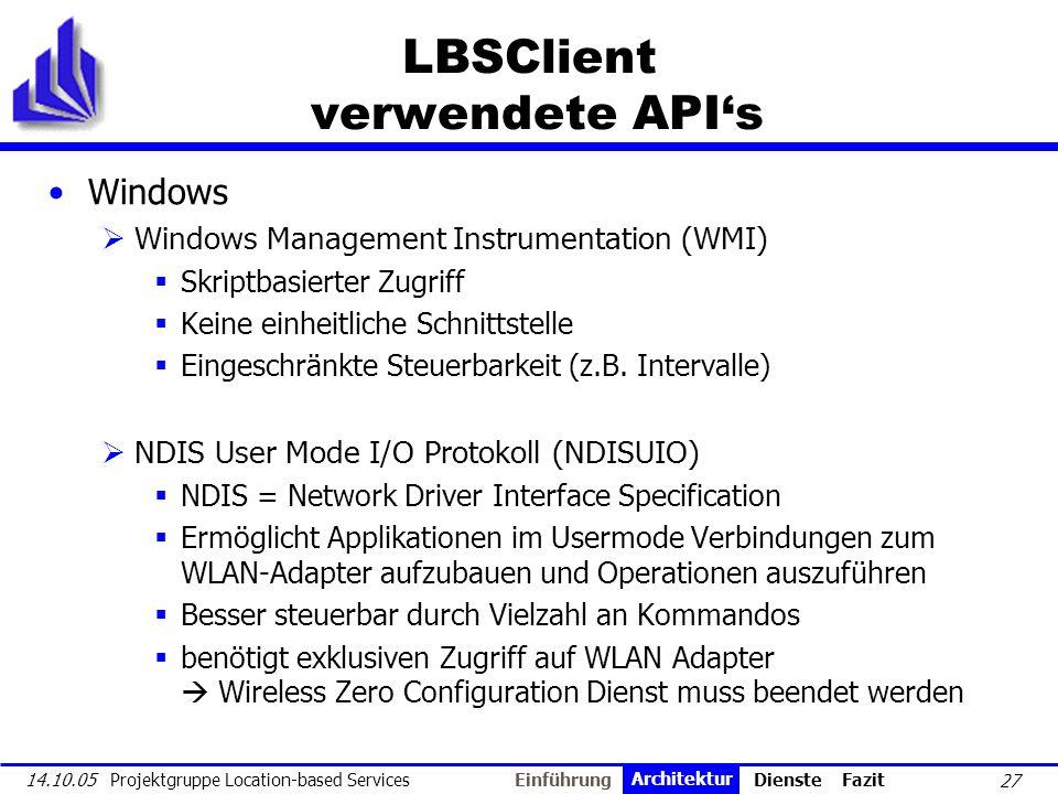 LBSClient verwendete API's