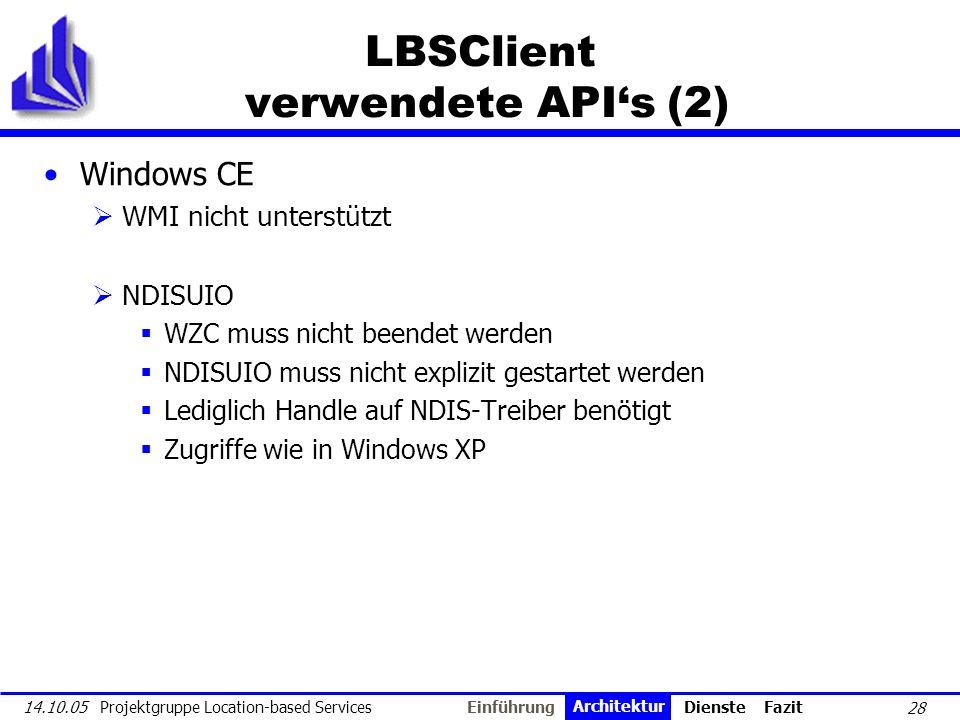 LBSClient verwendete API's (2)
