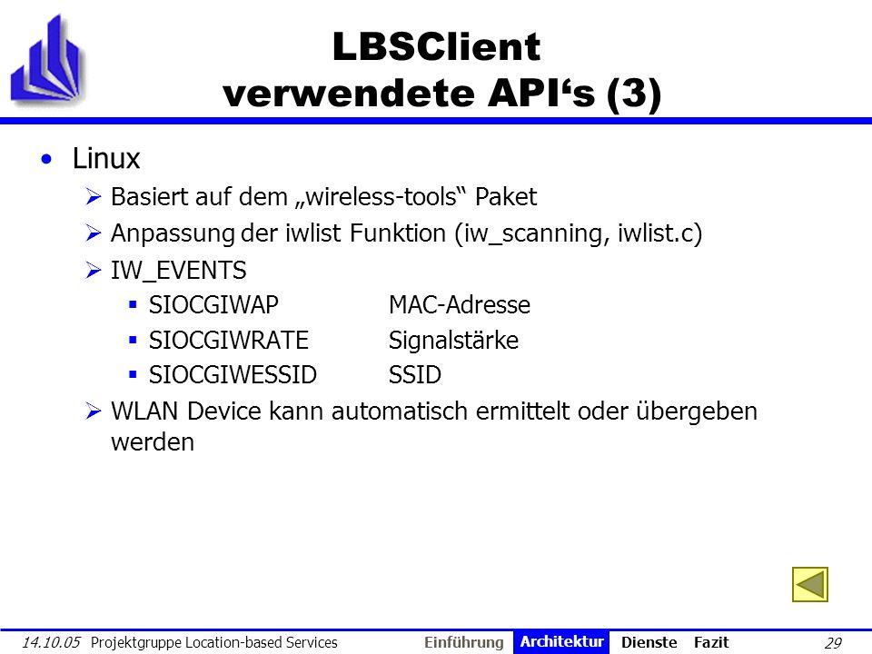 LBSClient verwendete API's (3)