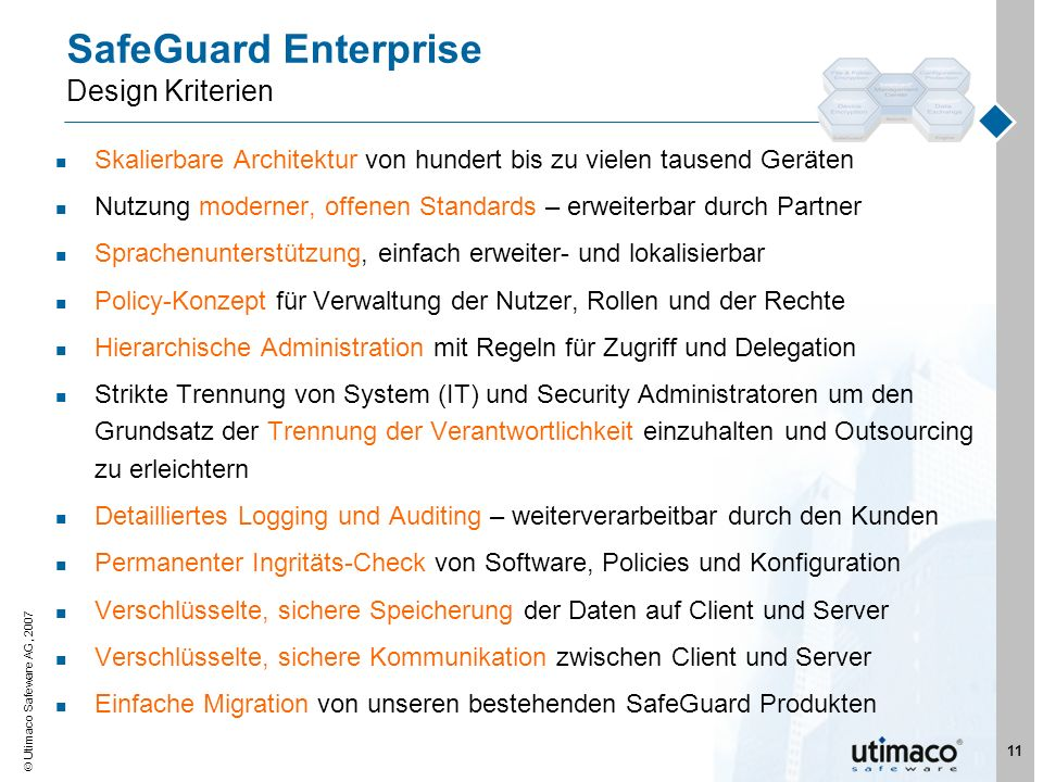 SafeGuard Enterprise Design Kriterien