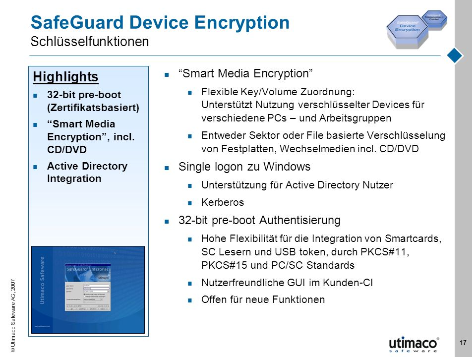 SafeGuard Device Encryption Schlüsselfunktionen