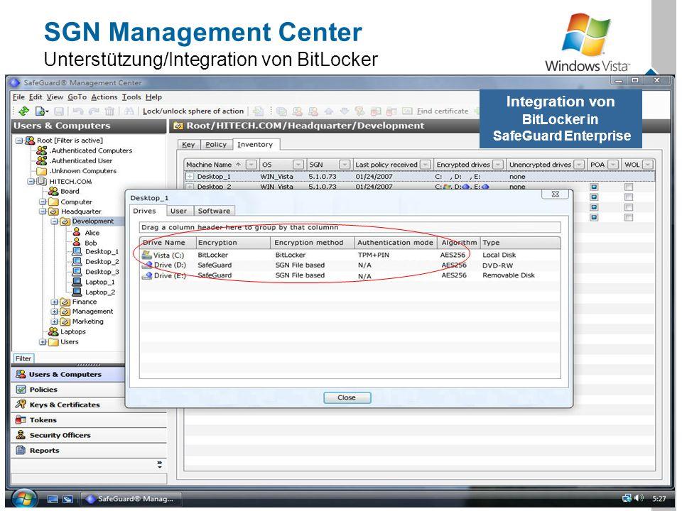 SGN Management Center Unterstützung/Integration von BitLocker