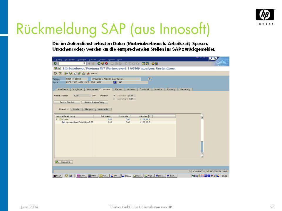 Rückmeldung SAP (aus Innosoft)