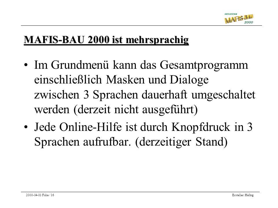 MAFIS-BAU 2000 ist mehrsprachig