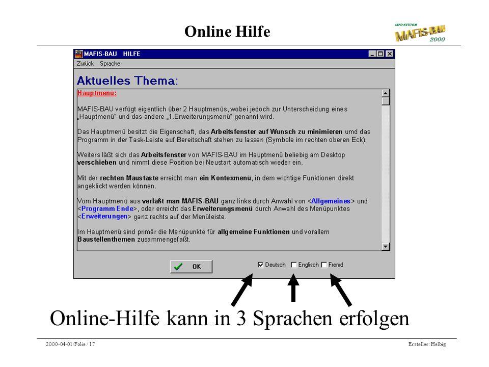 Online-Hilfe kann in 3 Sprachen erfolgen