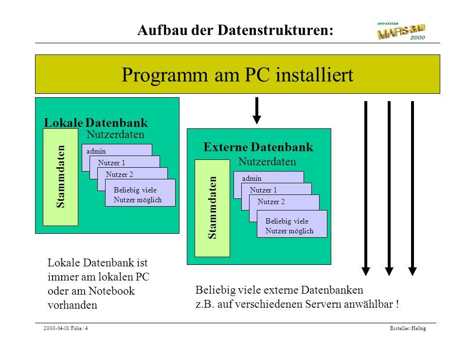 Aufbau der Datenstrukturen: