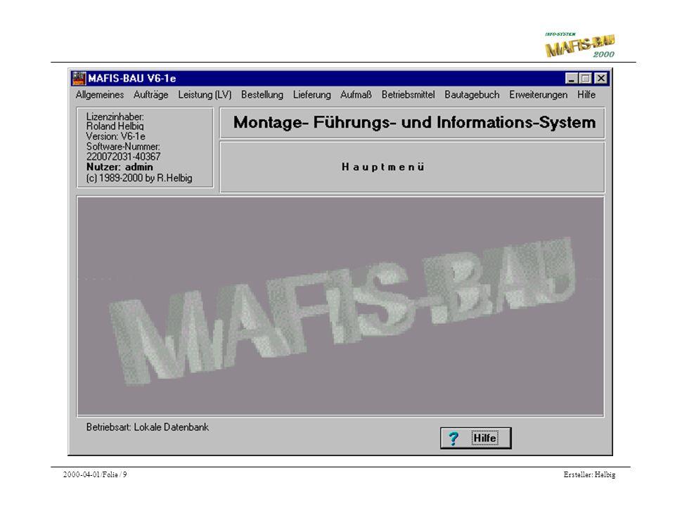 Die Hauptmenü- Maske von MAFIS BAU 2000