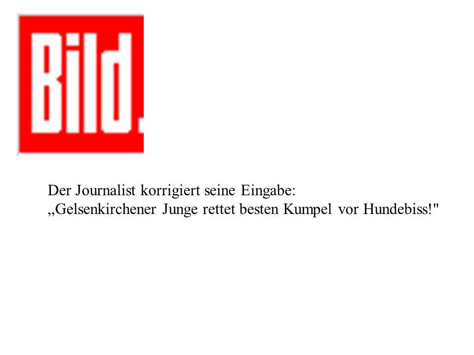 Der Journalist korrigiert seine Eingabe: