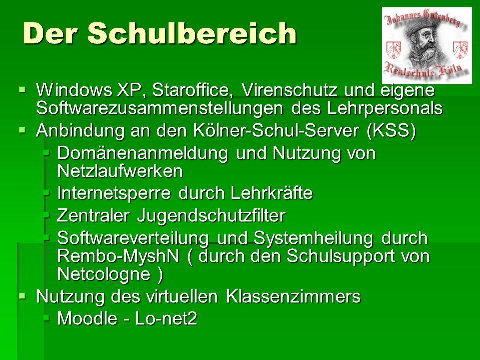 Der Schulbereich Windows XP, Staroffice, Virenschutz und eigene Softwarezusammenstellungen des Lehrpersonals.