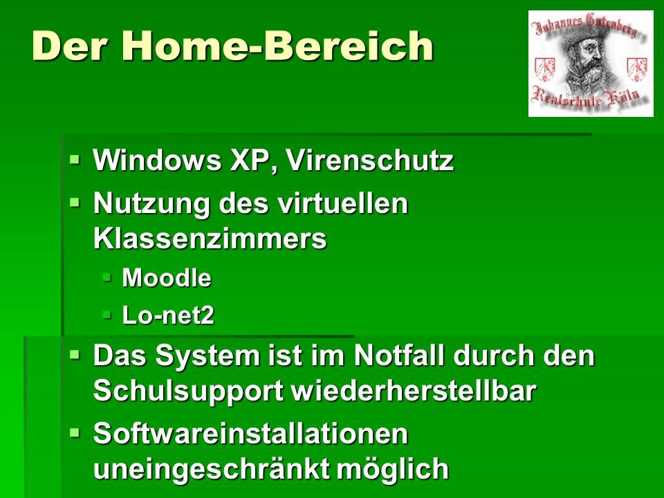 Der Home-Bereich Windows XP, Virenschutz