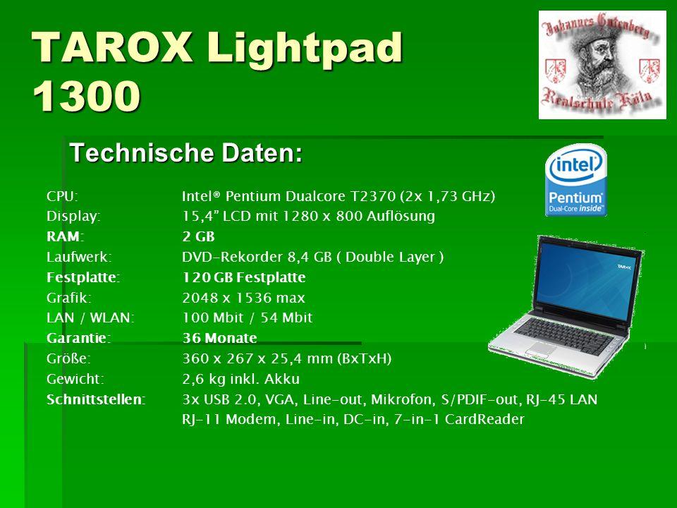 TAROX Lightpad 1300 Technische Daten: