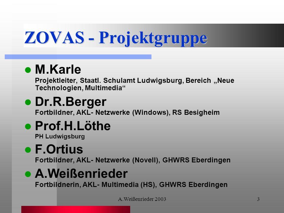 """ZOVAS - Projektgruppe M.Karle Projektleiter, Staatl. Schulamt Ludwigsburg, Bereich """"Neue Technologien, Multimedia"""