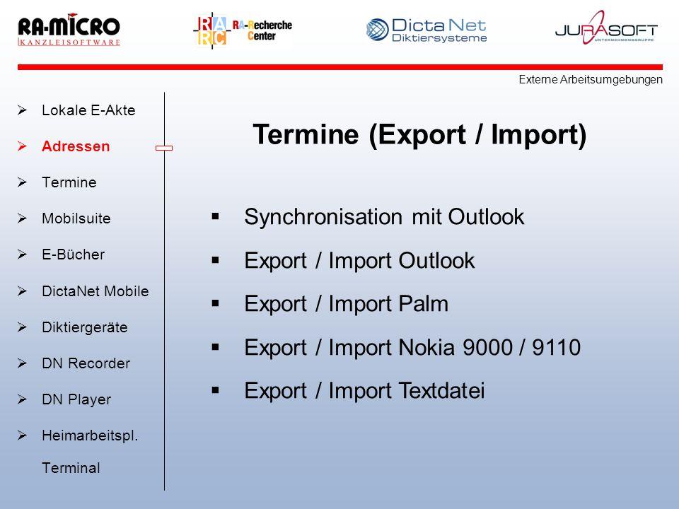 Termine (Export / Import)