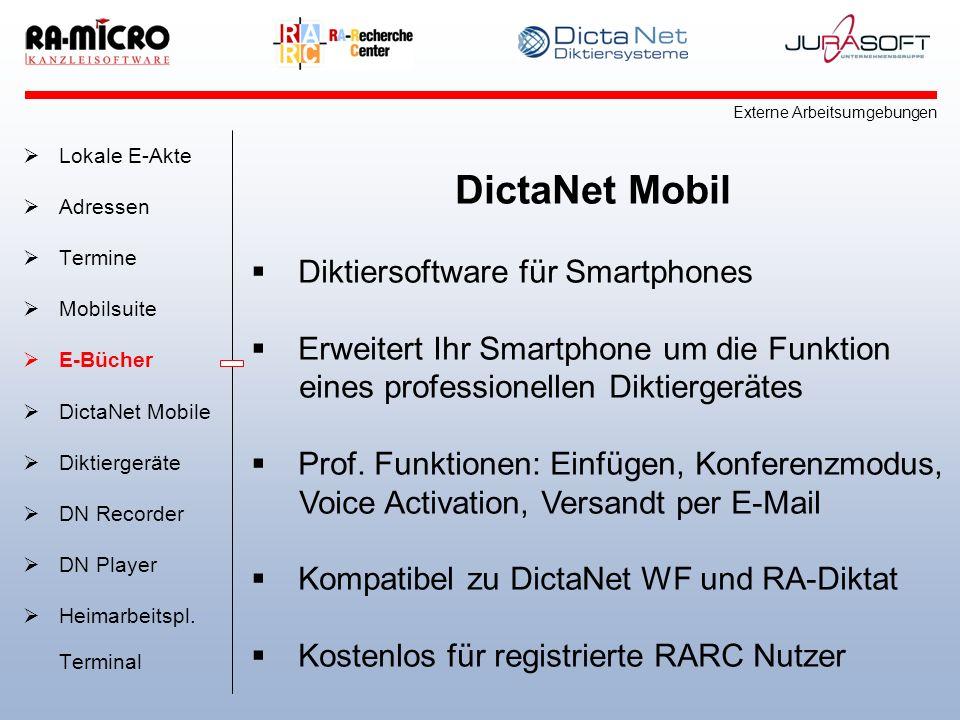 DictaNet Mobil Diktiersoftware für Smartphones