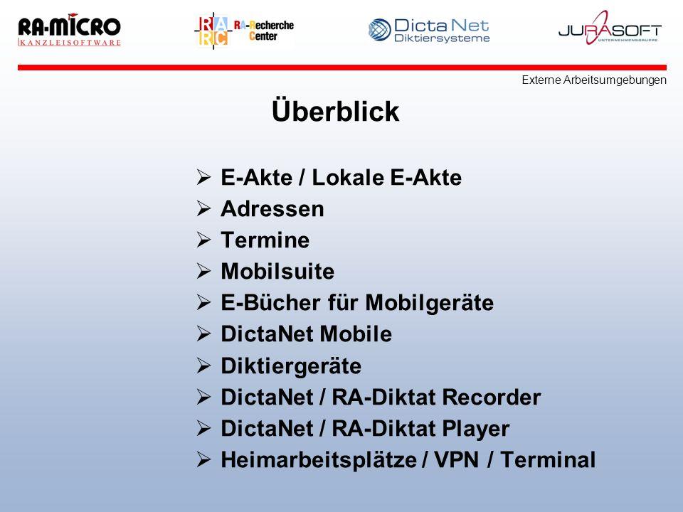 Überblick E-Akte / Lokale E-Akte Adressen Termine Mobilsuite