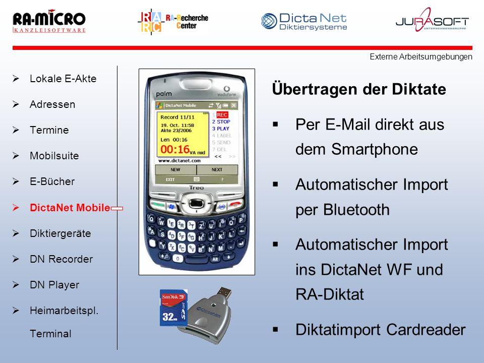 Übertragen der Diktate Per E-Mail direkt aus dem Smartphone