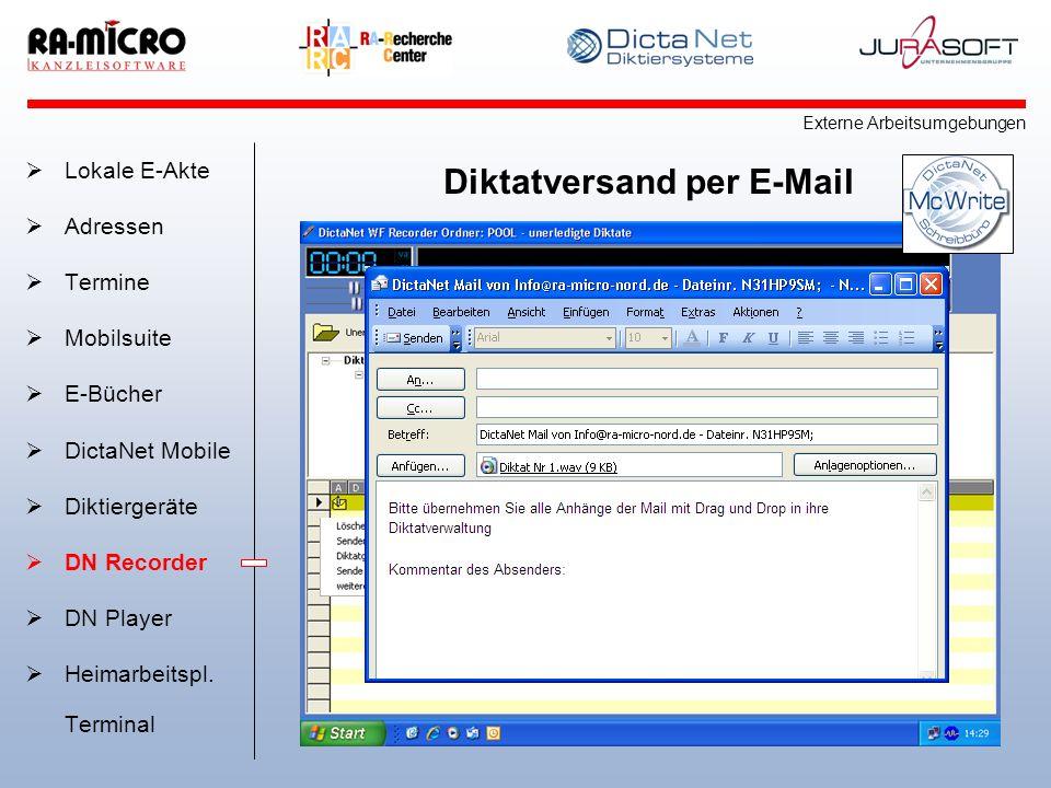 Diktatversand per E-Mail