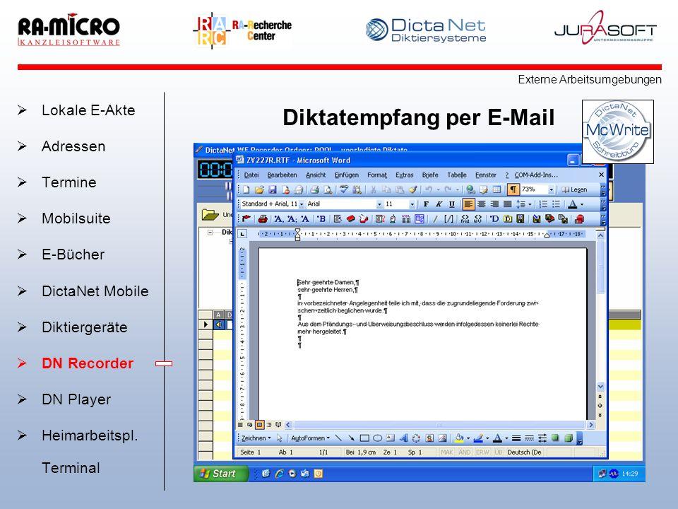 Diktatempfang per E-Mail