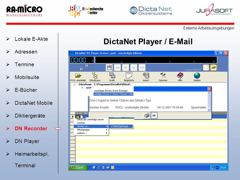 DictaNet Player / E-Mail