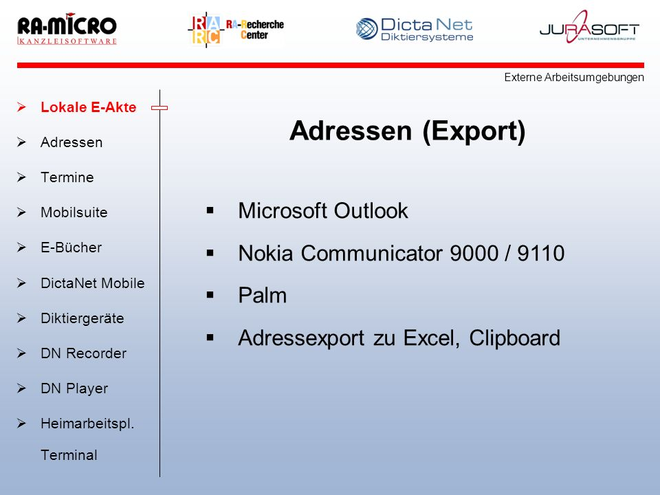 Adressen (Export) Microsoft Outlook Nokia Communicator 9000 / 9110