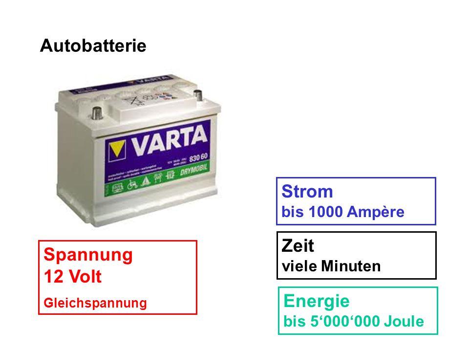 Autobatterie Strom bis 1000 Ampère Zeit viele Minuten Spannung 12 Volt