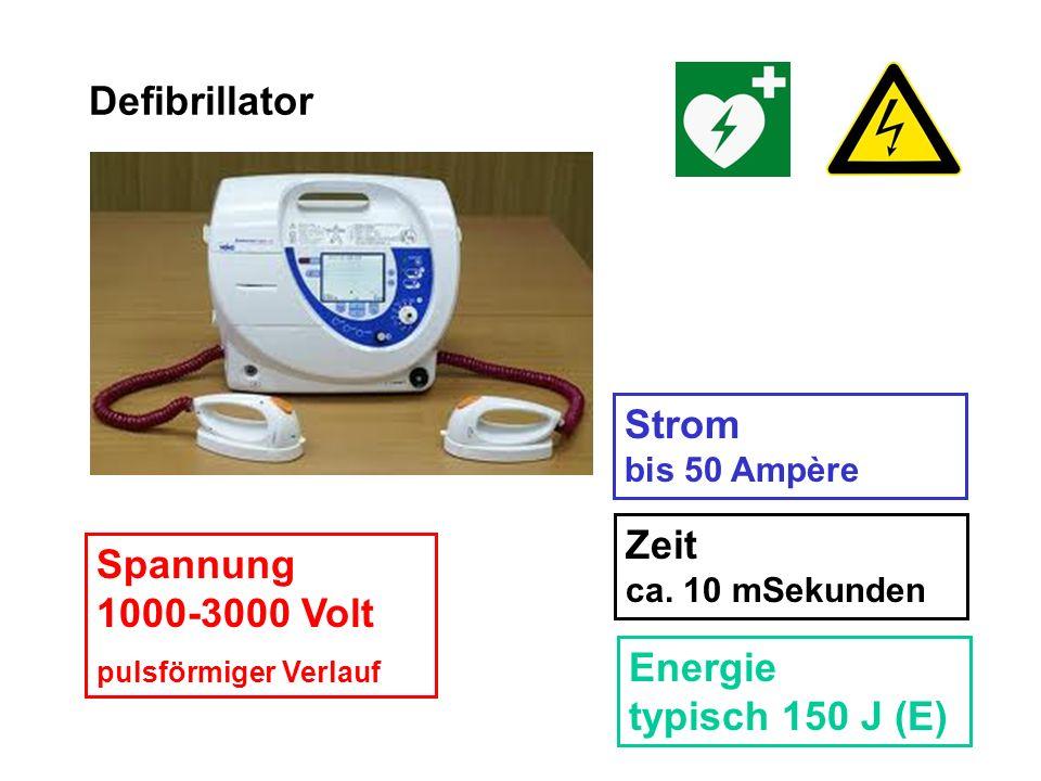 Defibrillator Strom bis 50 Ampère Zeit ca. 10 mSekunden