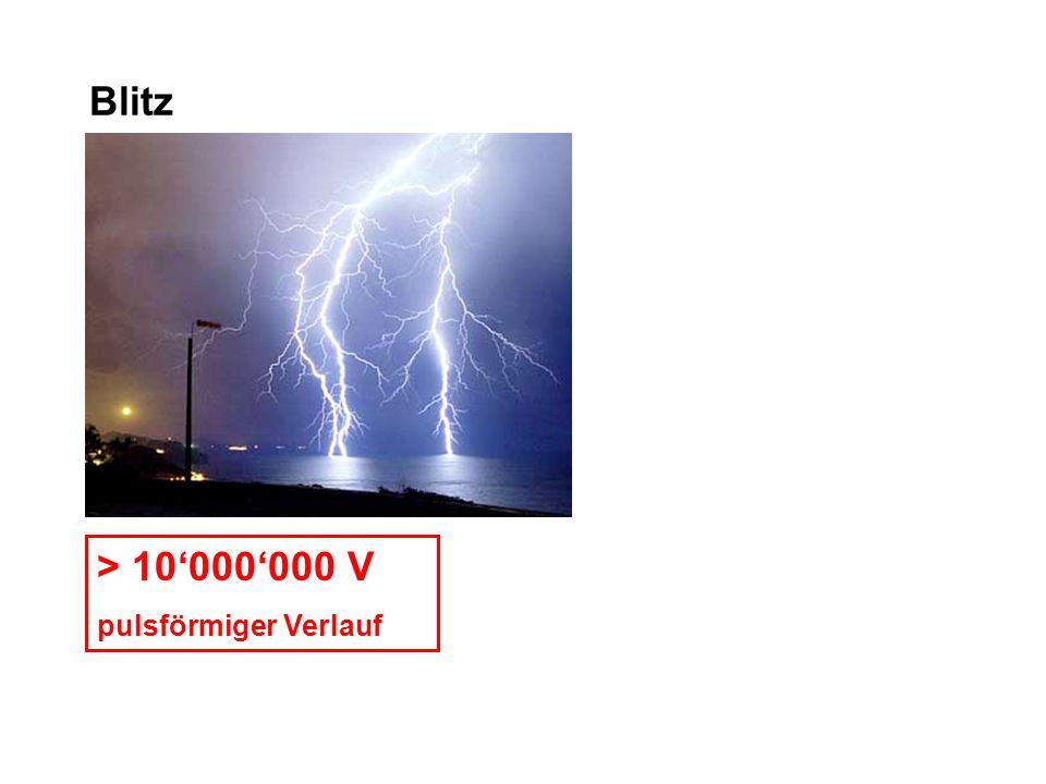 Blitz > 10'000'000 V pulsförmiger Verlauf