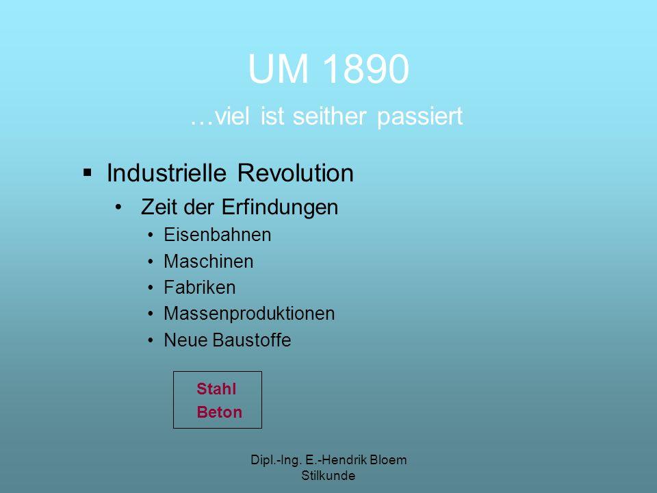 UM 1890 …viel ist seither passiert Industrielle Revolution