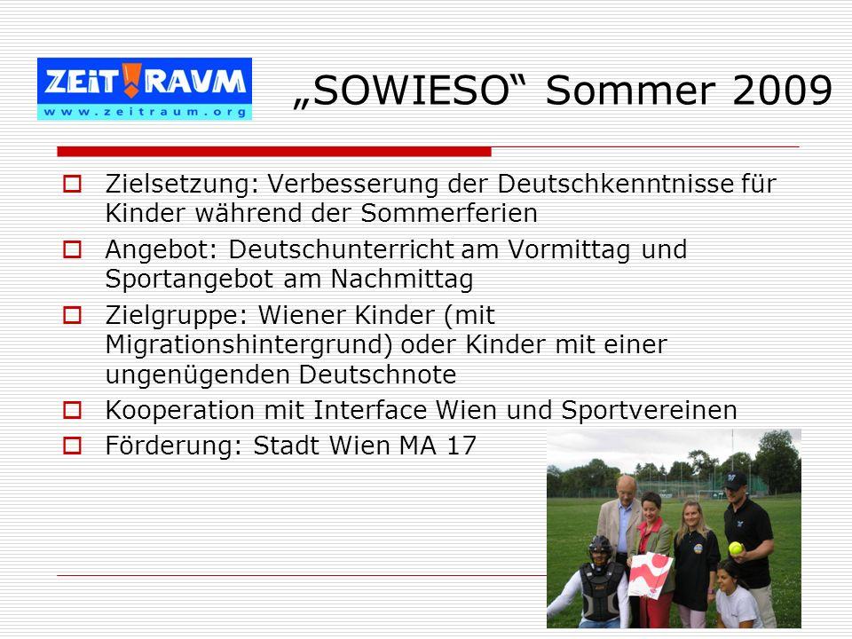 """""""SOWIESO Sommer 2009 Zielsetzung: Verbesserung der Deutschkenntnisse für Kinder während der Sommerferien."""