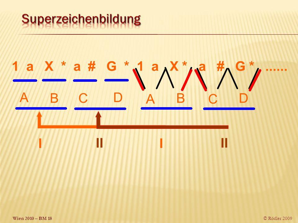 Superzeichenbildung 1 a X * a # G * 1 a X * a # G * ...... A. B. C. D. D.