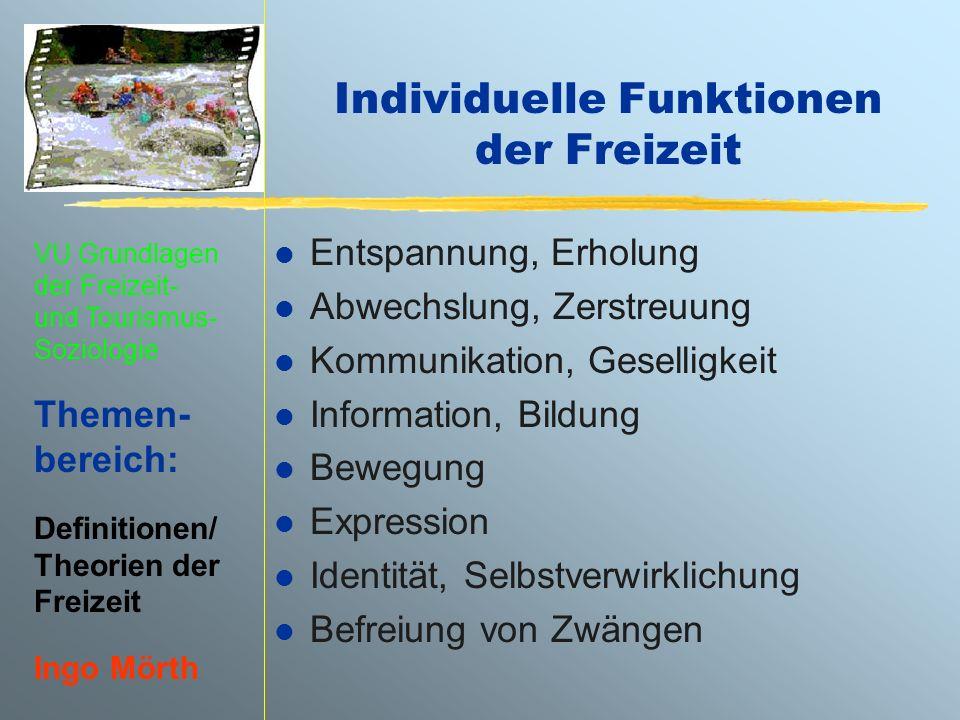 Individuelle Funktionen der Freizeit