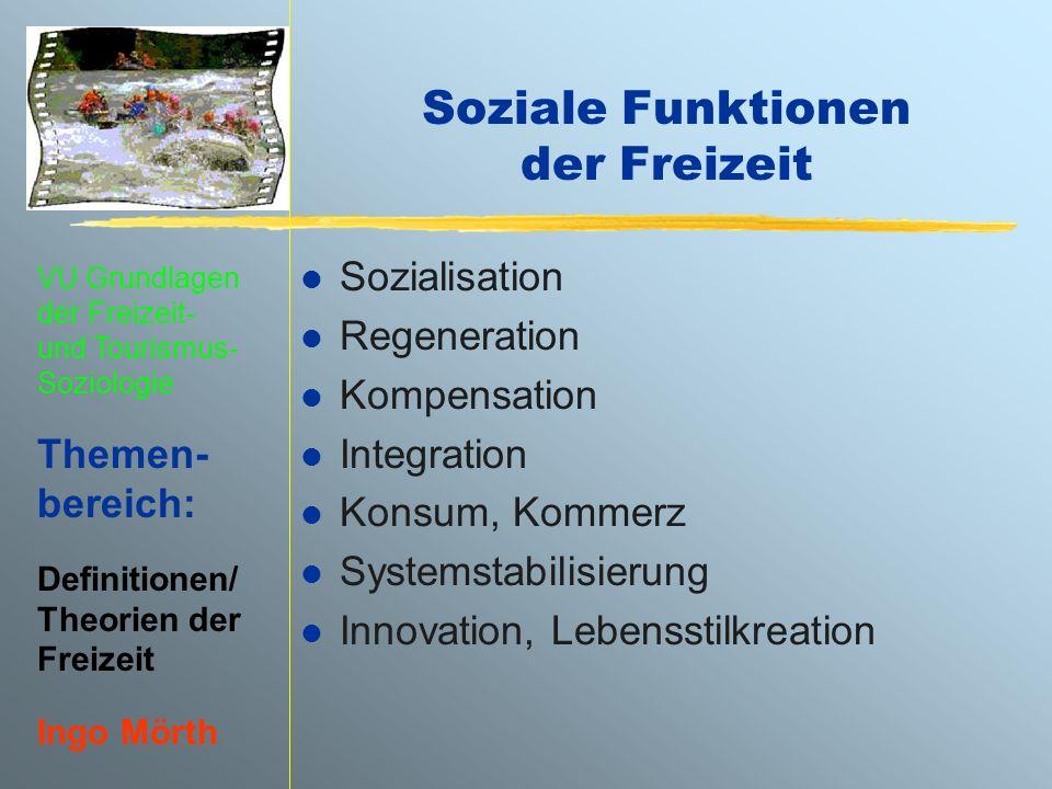 Soziale Funktionen der Freizeit