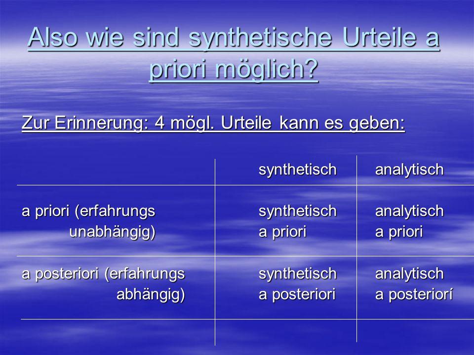 Also wie sind synthetische Urteile a priori möglich