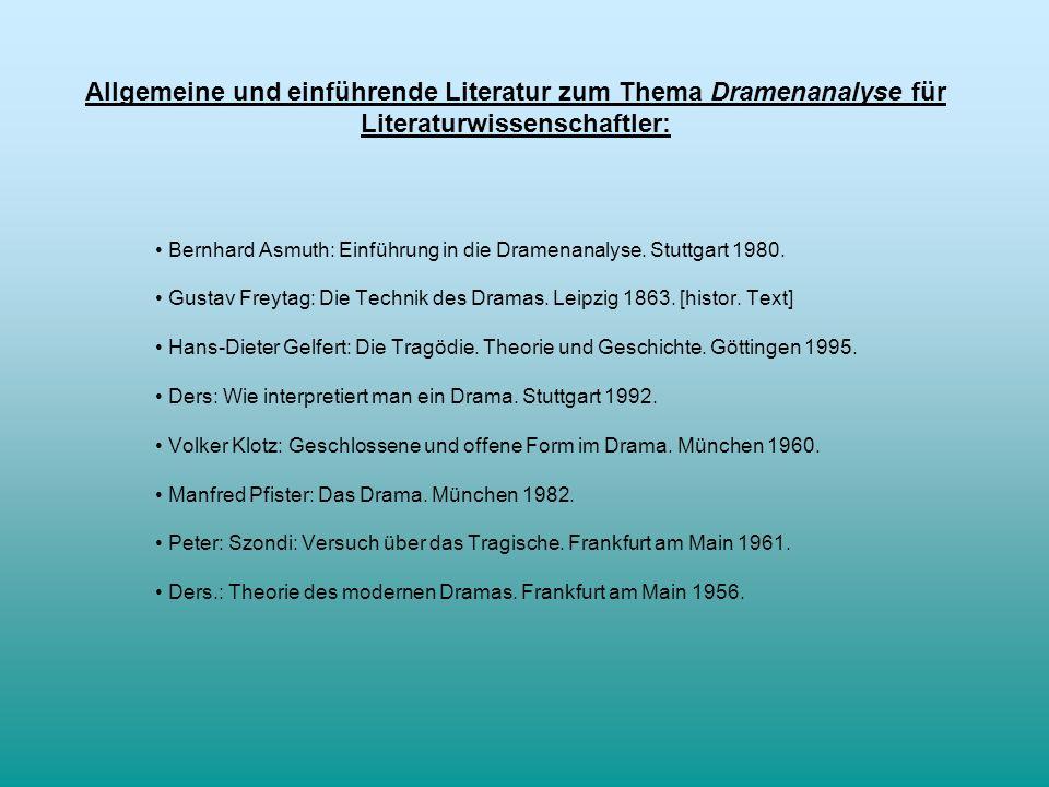 Allgemeine und einführende Literatur zum Thema Dramenanalyse für Literaturwissenschaftler: